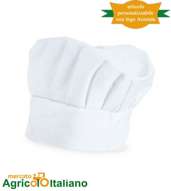 Cappello cuoco bianco tela 100% cotone irrestringibile taglia unica