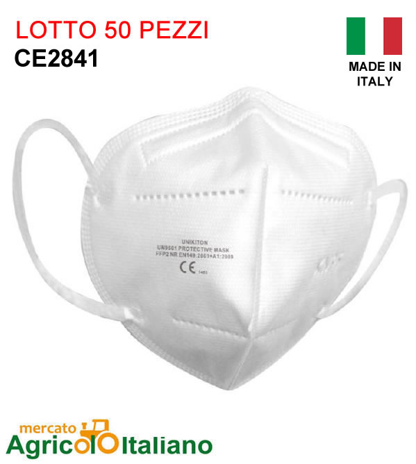 50 Mascherine Certificate FFP2 - CI III Certificata CE - Lotto. 50pz - 1,10 Euro Imbustate singolarmente