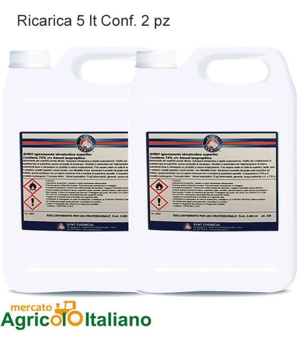 Igienizzante idroalcolico per superfici. Tanica da 5 lt. - Confezione 2 PZ