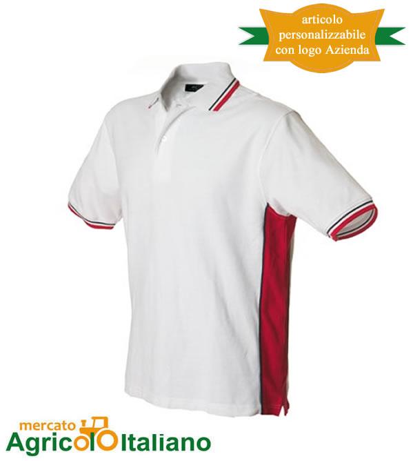 Polo manica corta Mod. Ankara. Colore white/red