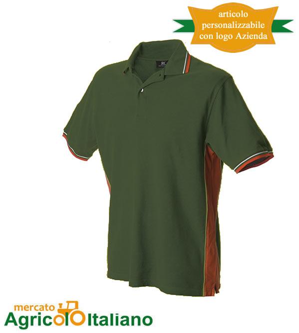 Polo manica corta Mod. Ankara. Colore darkgreen/orange