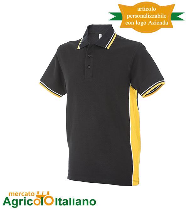 Polo manica corta Mod. Ankara. Colore black/yellow