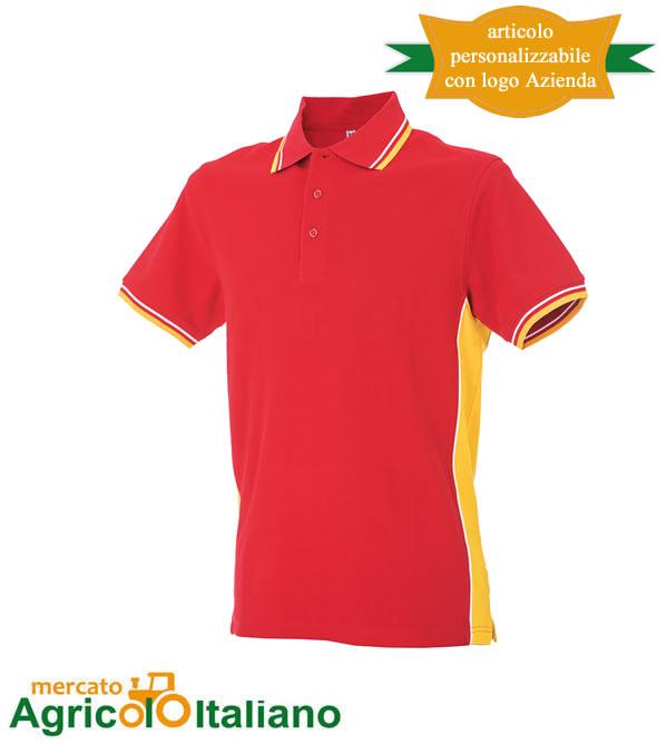 Polo manica corta Mod. Ankara. Colore red/yellow
