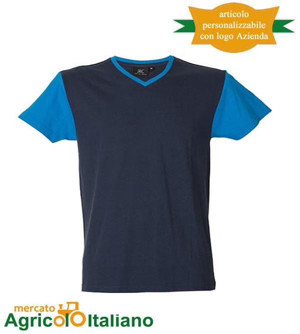 T-shirt Cadice manica corta collo a V 100% cotone pettinato - Blu Denim