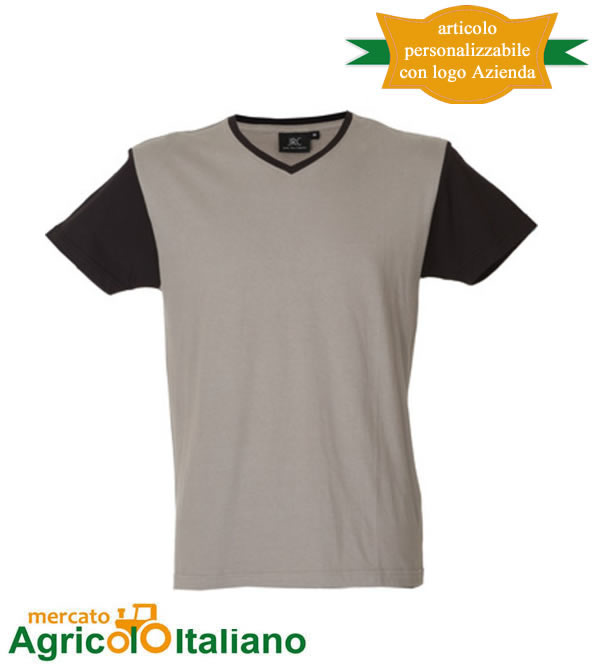 T-shirt Cadice manica corta collo a V 100% cotone pettinato - Light Grey
