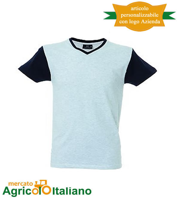 T-shirt Cadice manica corta collo a V 100% cotone pettinato Melange/Navy
