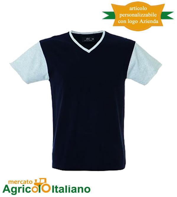 T-shirt Cadice manica corta collo a V 100% cotone pettinato - Navy/Melange