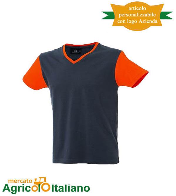 T-shirt Cadice manica corta collo a V 100% cotone pettinato Grey/Orange