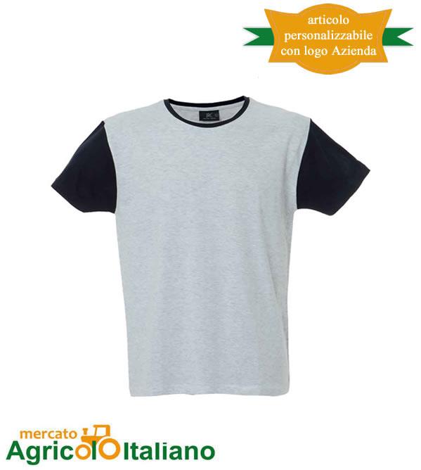 T-shirt Lisbona manica corta girocollo 100% cotone pettinato Melange/Navy