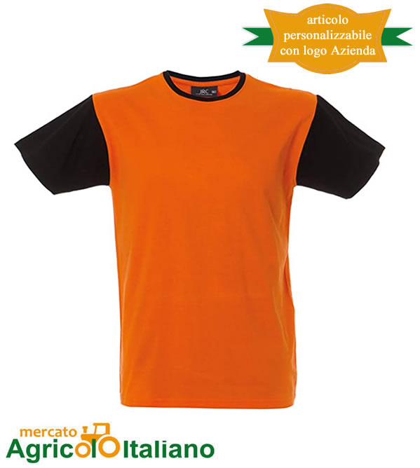 T-shirt Lisbona manica corta girocollo 100% cotone pettinato - Orange Black