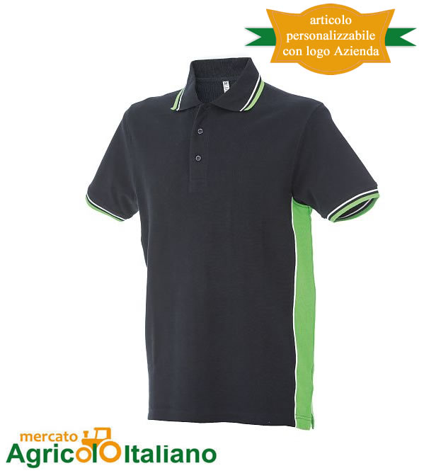 Polo manica corta Mod. Ankara. Colore navy/green